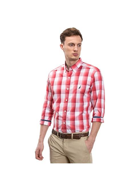 Nautica Kareli Gömlek Kırmızı